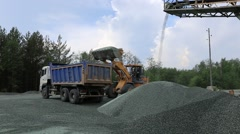 Factory for the production of gravel for road construction - stock footage