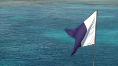 Dive flag in front of calm, clear seas, HD, UP20141 Stock Footage