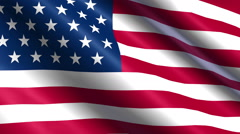Seamless USA Flag waving in the wind with highly detailed fabric texture Stock Footage