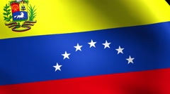 Textured VENEZUELA satin cotton flag with wrinkles and seams - stock footage