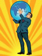 Businessman Titan Atlas holds the Earth - stock illustration