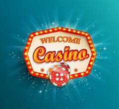 Shining retro light frame Casino. - stock illustration