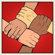 Handshake people of different nationalities and races - stock illustration