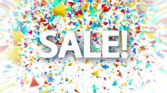 Sale white sign with falling colorful confetti Stock Footage