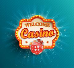 Casino shining retro light frame. - stock illustration