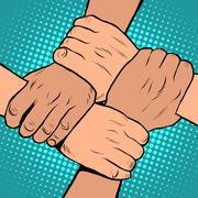White black solidarity handshake stop racism pop art retro style - stock illustration