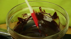 Stir chocolate cream - stock footage