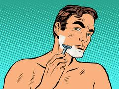 Man shaving foam - stock illustration