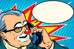 boss clown on the phone - stock illustration