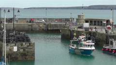 Newquay Harbour, Cornwall, UK, Boat Entering Stock Footage