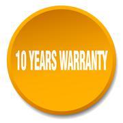 10 years warranty orange round flat isolated push button - stock illustration