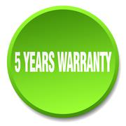 5 years warranty green round flat isolated push button - stock illustration