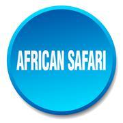 african safari blue round flat isolated push button - stock illustration