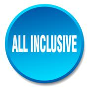 all inclusive blue round flat isolated push button - stock illustration