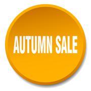 autumn sale orange round flat isolated push button - stock illustration