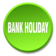 bank holiday green round flat isolated push button - stock illustration