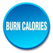 burn calories blue round flat isolated push button - stock illustration