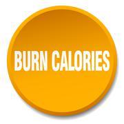 burn calories orange round flat isolated push button - stock illustration
