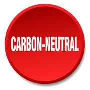 Carbon-neutral red round flat isolated push button Stock Illustration
