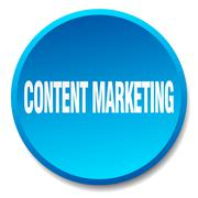 content marketing blue round flat isolated push button - stock illustration
