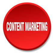 content marketing red round flat isolated push button - stock illustration
