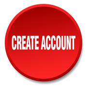 create account red round flat isolated push button - stock illustration