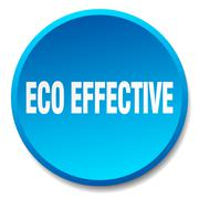 eco effective blue round flat isolated push button - stock illustration