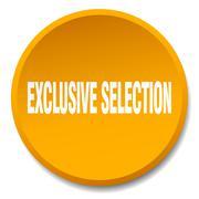 exclusive selection orange round flat isolated push button - stock illustration