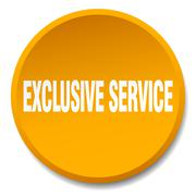 exclusive service orange round flat isolated push button - stock illustration