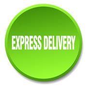 express delivery green round flat isolated push button - stock illustration