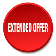 extended offer red round flat isolated push button - stock illustration