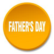 father's day orange round flat isolated push button - stock illustration