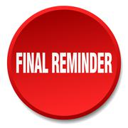 Final reminder red round flat isolated push button Stock Illustration