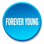 forever young blue round flat isolated push button - stock illustration