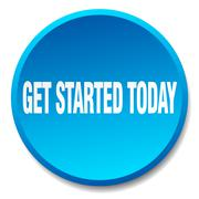 Get started today blue round flat isolated push button Stock Illustration
