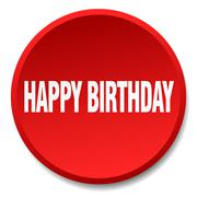happy birthday red round flat isolated push button - stock illustration
