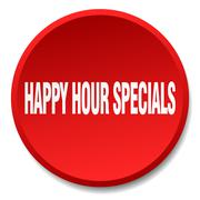 Happy hour specials red round flat isolated push button Stock Illustration