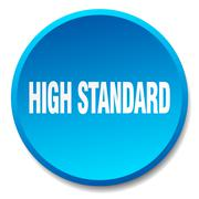 high standard blue round flat isolated push button - stock illustration