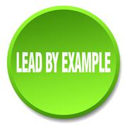 lead by example green round flat isolated push button - stock illustration