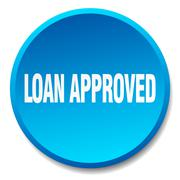 loan approved blue round flat isolated push button - stock illustration