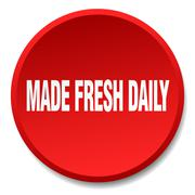 Made fresh daily red round flat isolated push button Stock Illustration