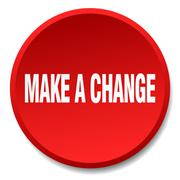 make a change red round flat isolated push button - stock illustration