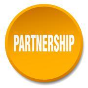 Partnership orange round flat isolated push button Stock Illustration