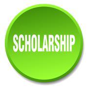 scholarship green round flat isolated push button - stock illustration