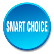 smart choice blue round flat isolated push button - stock illustration