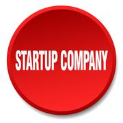 Startup company red round flat isolated push button Stock Illustration