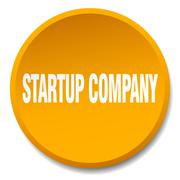 startup company orange round flat isolated push button - stock illustration