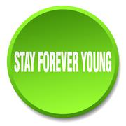 stay forever young green round flat isolated push button - stock illustration