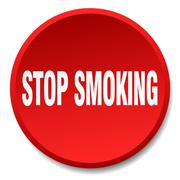 stop smoking red round flat isolated push button - stock illustration
