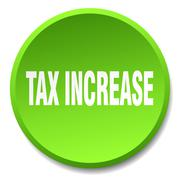 tax increase green round flat isolated push button - stock illustration